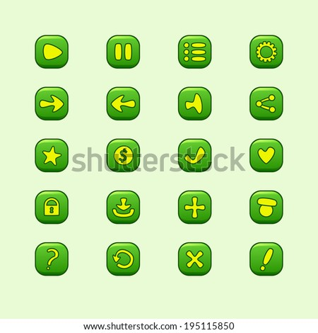 set of mobile green vector