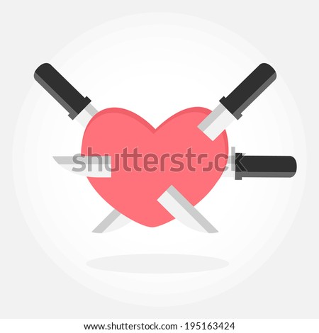 knife and heart vector