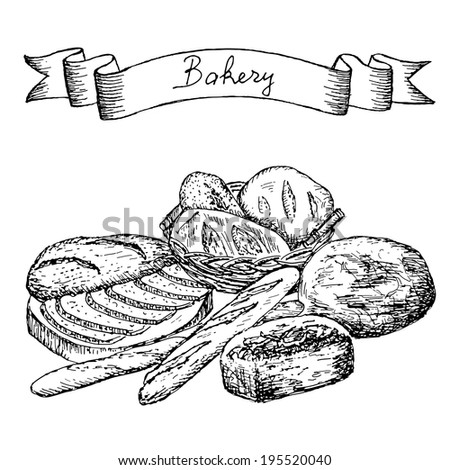 bakery hand drawing set of