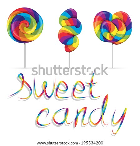 set of sweet rainbow candy