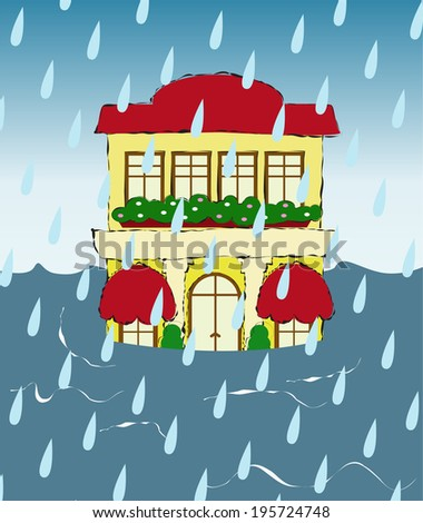house in a flood