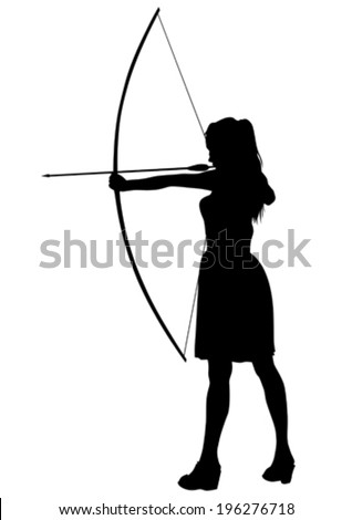 silhouette of a girl with a bow