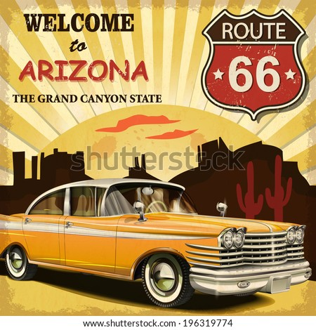 welcome to arizona retro poster