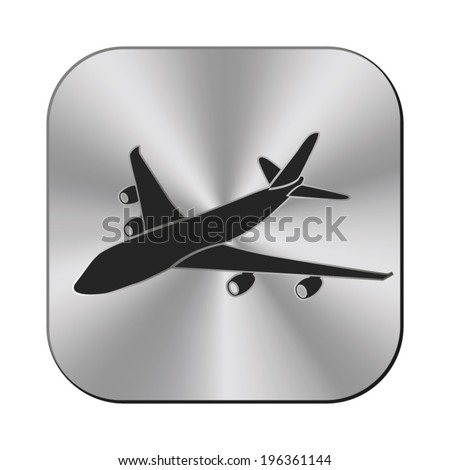 airplane icon   vector metal