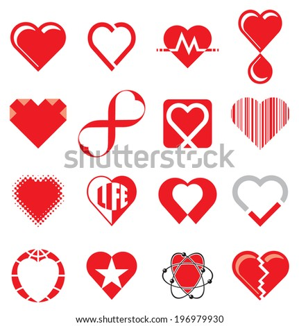 set of heart concept icons