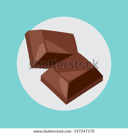 two chocolate pieces flat design