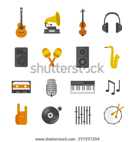flat music icons set