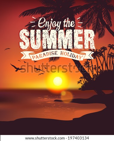 vintage summer poster   sunset
