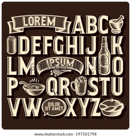 set of vintage font and design
