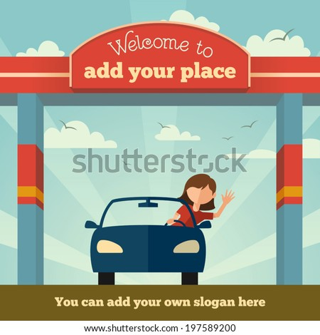 young girl rides a car through