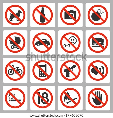 prohibiting signs vector icons