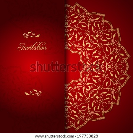 red lace background with floral