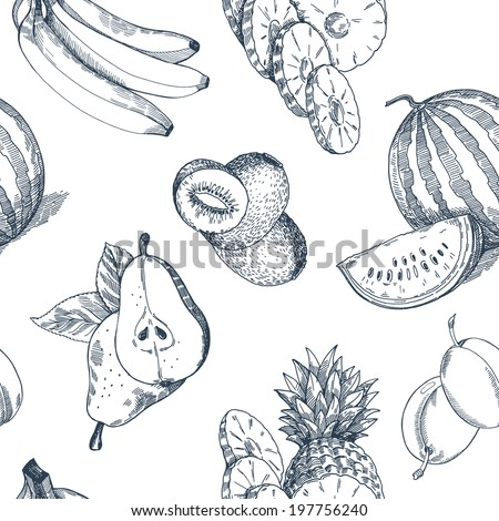 fruit pattern  vector hand