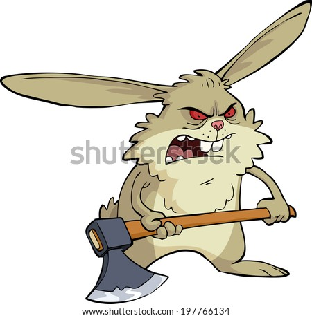 angry bunny with an ax vector