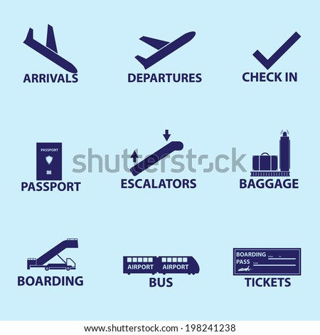 airport signs icons eps10