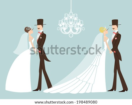 two wedding couplecute cartoon