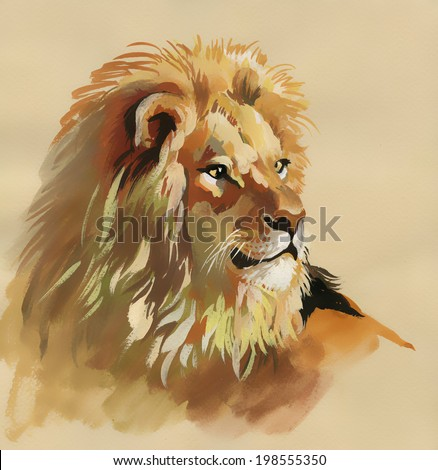 watercolor lion on a brown