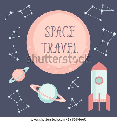 space travel children vector
