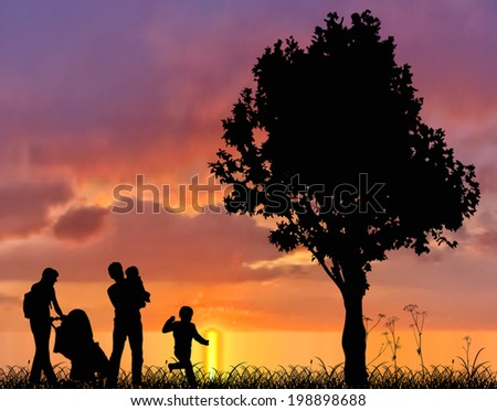 illustration with family and