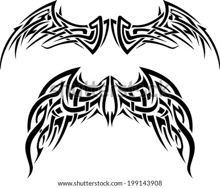 abstract wing tattoo set