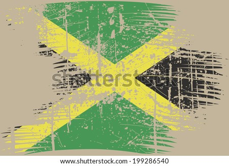 grunge of jamaica flag