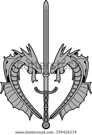 dragons and runic sword vector