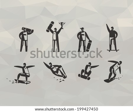 skateboard icons vector format