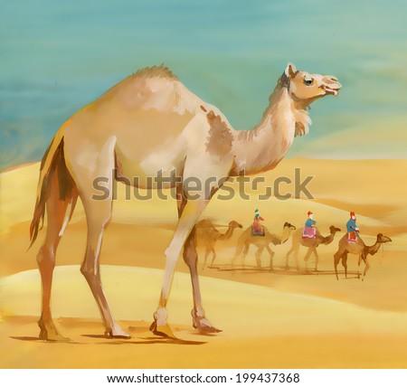 watercolor camel in desert