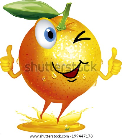 cartoon orange fruit character