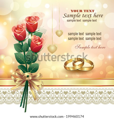 romantic card with roses