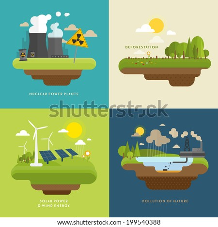 ecology concept vector icons