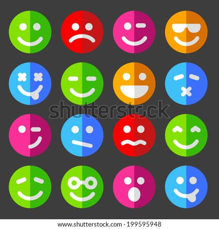 flat and round vector emotion