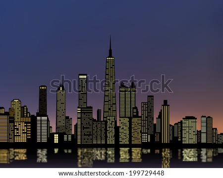 silhouettes chicago city and