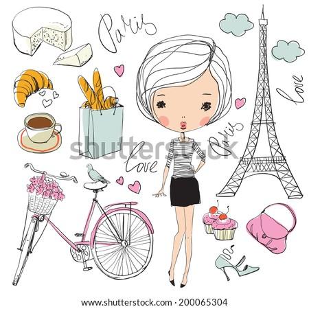 vector set of paris girl