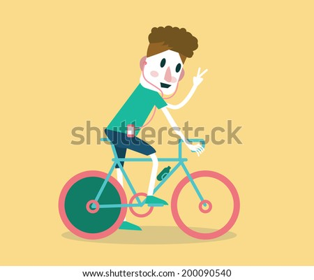 young man riding a bike flat