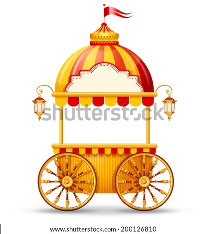 brightly colored cart stall for
