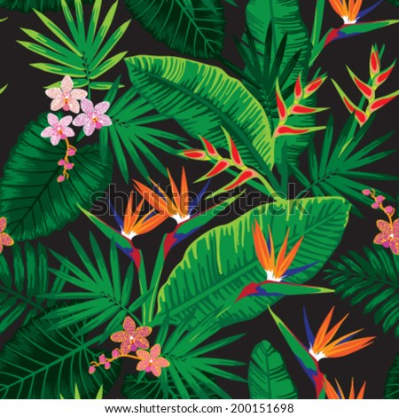 seamless tropical jungle floral