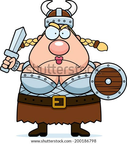 a cartoon viking valkyrie with
