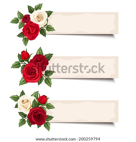 three vector banners with red