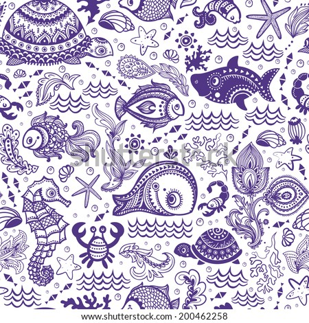 vector set of fish and shells