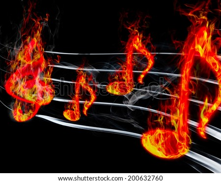 image of burning music on a