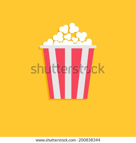 popcorn cinema icon in flat