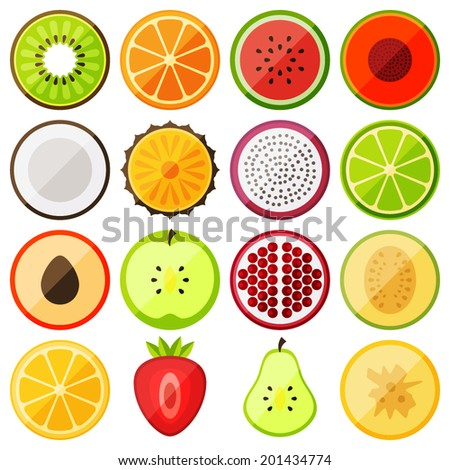 flat icon fruits