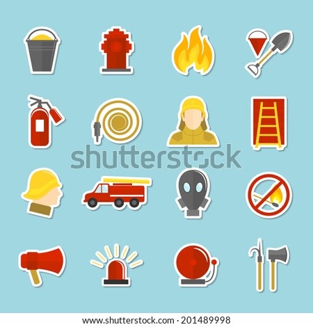 firefighting icons stickers set