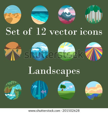set of vector icons landscapes