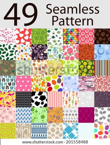 49 seamless pattern set vector