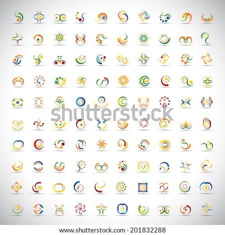 unusual icons set   isolated on