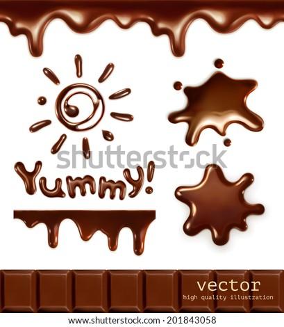 set of chocolate drops  vector