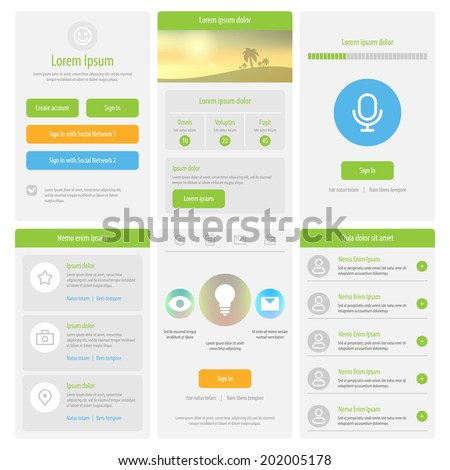 flat mobile ui design set of