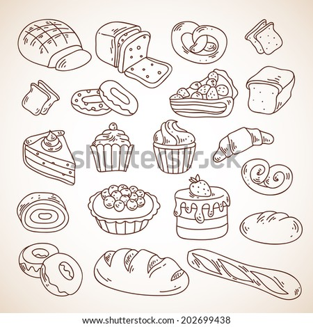vector hand drawn bakery cakes